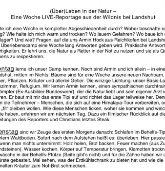 Das ZDF-Morgenmagazin zu Gast im Survival-Camp